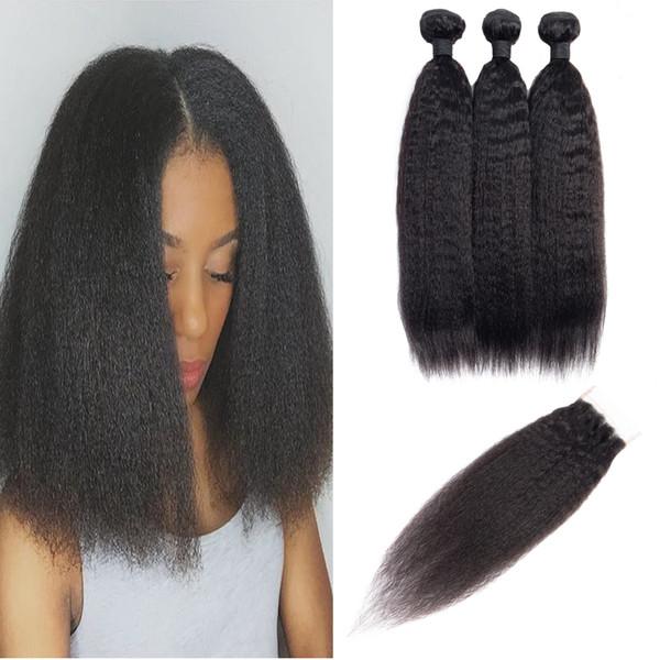 Modista Indian Kinky Straight 3 paquetes con cierre de 4x4 Paquetes de cabello rizado con cierre Parte libre Sin procesar Virgin Human Hair