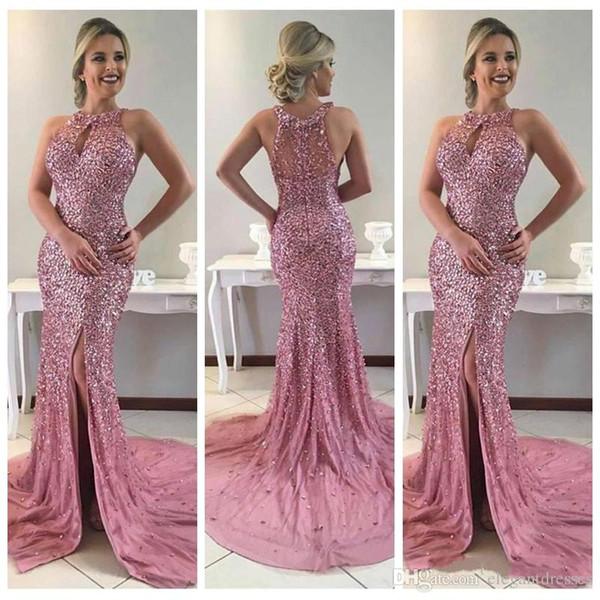 Lussuoso in rilievo pieno sottile Split sirena lunga Prom Dresses Split convenzionale lungo Vestidos de soirée abiti da sera su misura