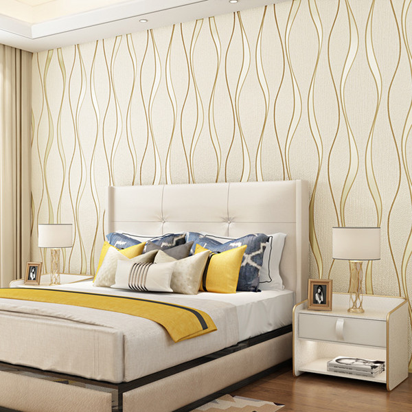 Deer Leather Wallpapers Velvet Non Woven Cloth Water Wave Stereo Curve  Striped Wallpaper Bedroom Living Room Film Wall TV Background Wall Free ...