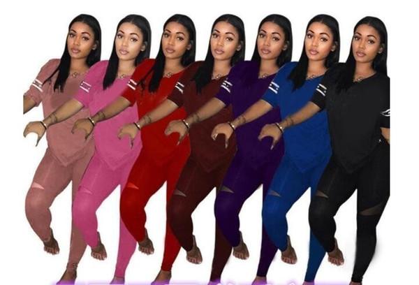 18dd0c74838 Горячие продажи женские спортивные костюмы весна лето стиль пот рубашка  печати спортивный костюм женщины длинные брюки