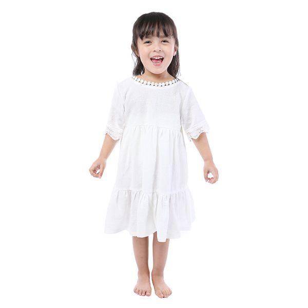 Le ragazze poco cotte del cotone della manica corta di modo si vestono con il commercio all'ingrosso del boutique dei bambini del commercio all'ingrosso del nastro per l'estate