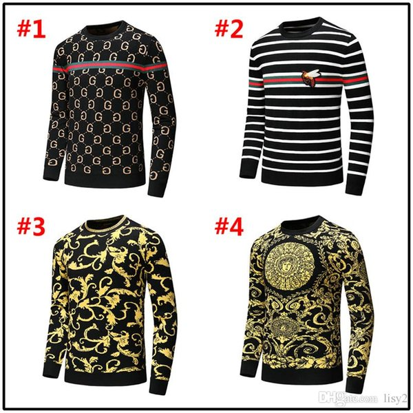 18MODEL marque mode designer de luxe hommes pull Paris Automne Hiver Pull Hommes laine Pull rayé broderie GG Slogan
