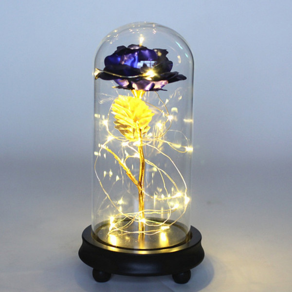 Valentine's Day Gold Foil Artificial Rose Flower And LED Light String In Glass Dome On Wooden Base The Best Gift For Women 2020