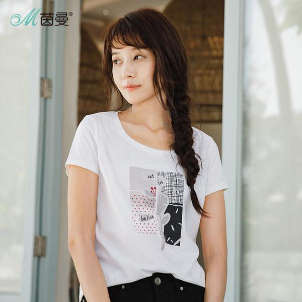 Venta al por mayor 2019 Cómodo algodón mujer camiseta verano nueva llegada cuello redondo Tops impresión estilo suelto señora T