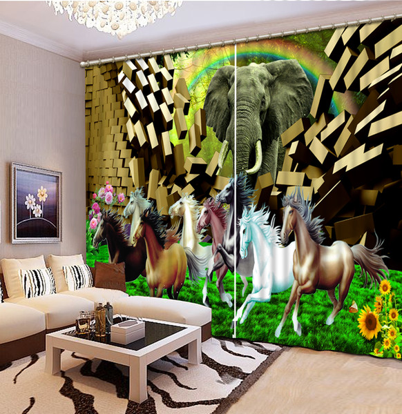 Luxury 3D Window Curtain living room Shower HooksJunma and elephant Curtains blackout Tapestry Custom size