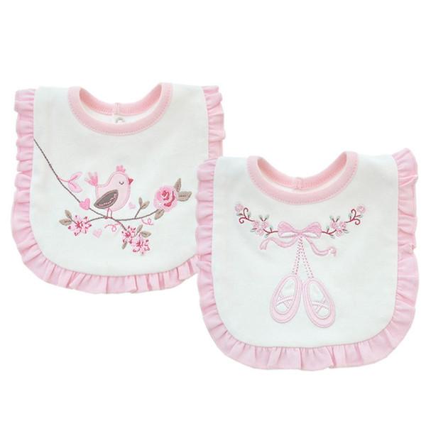 2 couches de coton bébé fleurs roses en dentelle bavoirs imperméables bandana bébé filles bavoirs brodés burp chiffons vêtements serviette