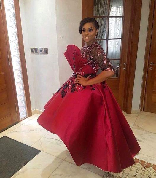 2019 Aso Ebi Arabe Rouge Élégant Sexy Robes De Soirée En Dentelle Robes De Bal Perlées Satin Formelle Réception Partie Des Robes De Douche Robes