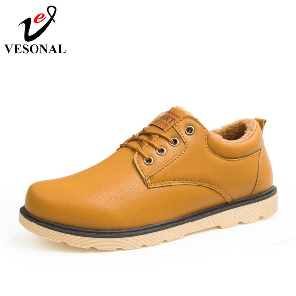 72c984f6a6b 2019 VESONAL Brand Fashion PU Leather Male For Men Shoes Adult 2018 Winter  Warm Short Plush