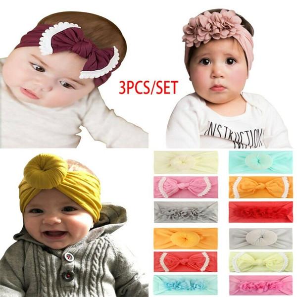 3Pcs Kids Baby Girls Toddler Flower Headband Headwear Hair Bow Band Accessories