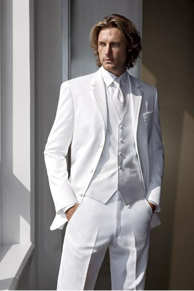 Новое прибытие Slim Fit на заказ буксировка кнопка жених смокинги пик отворот лучший костюм белый жених / жених свадьба / выпускного вечера костюмы