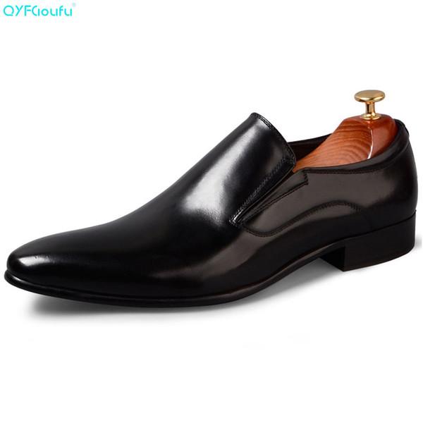 QYFCIOUFU Italian Slip On Men Dress Shoes Business Oxford Scarpe in vera pelle di alta qualità in pelle di mucca lavoro di lusso