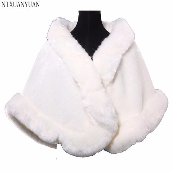 Spalline da sposa Inverno Faux Fur Stole Bridal Winter Coat Ladies Evening Giacche Wedding Scialle Shrug