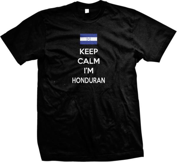 Mantenha a calma eu sou bandeira Honduras honduras de orgulho dos homens t-shirt dos homens camisa para homens verão de manga curta dia de ação de graças personalizado 3xl casal t-shir