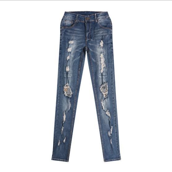 Calças de Brim dos homens Estilo Moda Streetwear Buraco Cadeia New Hot Sale Masculino Denim Jeans Tamanho Asiático 30-38