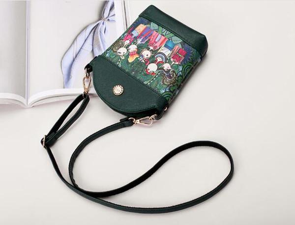 Diseñador de moda nuevo # 6656 bolso de mujer versión coreana de moda bosque impresión bolso bandolera de un hombro pintado con spray para bolso de mujer