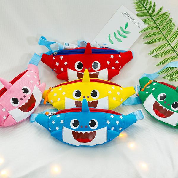e158b56c2430 2019 Baby Shark Cute Cartoon Waist Bag Boys Girls One Shoulder Bag  Kindergarten Canvas Chest Bag Kids Fanny Packs Zipper Mini Coin Purse From  ...