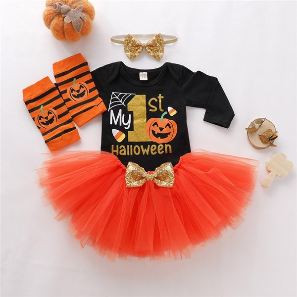 Halloween INS New Infant Baby Boys Girls Tees with Gauzy Dresses Hairbands Legging Hairband 4pieces Sets Children Clothing Set