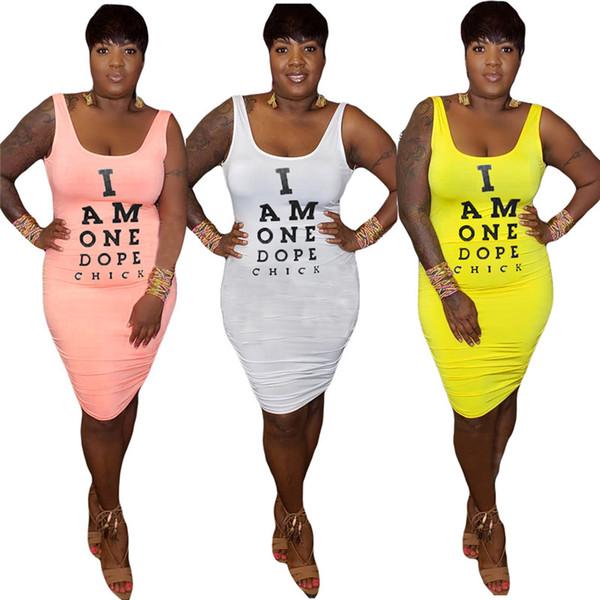 Les femmes sexy mini-robes lettre encolure dégagée et imprimé tee top robes sans manches robe dos nu maigre nouvelle arrivée rue de la mode vente chaude 743