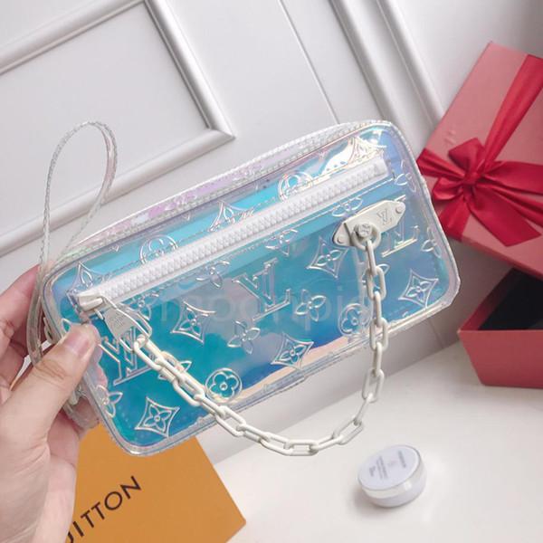 luxury designer clutch laser flash pvc clear handbag handbaglouis vuitton 00 rainbow transparent bags wallet