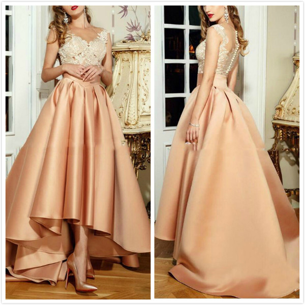 Fashion Designer High Low Prom Dresses With Lace Floor Length Jewel Special Occasion Formal Evening Gowns Short Front Long Back Arabic Party