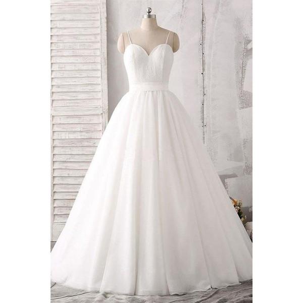 2019 Lace vestido de baile vestidos de casamento Plus Size Spaghetti mangas Zipper até o chão Vestido De Novia