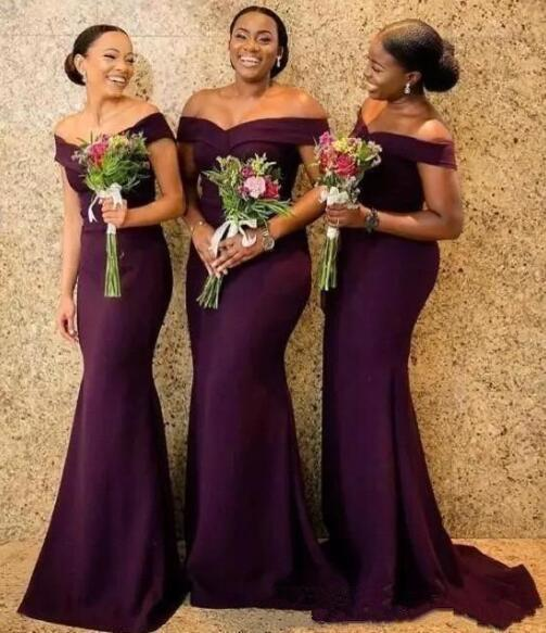 2019 High Quality Cheap elegant Off The Shoulder Satin Long Bridesmaid Dresses Ruched Sweep Train Wedding Guest Maid Of Honor Dresses