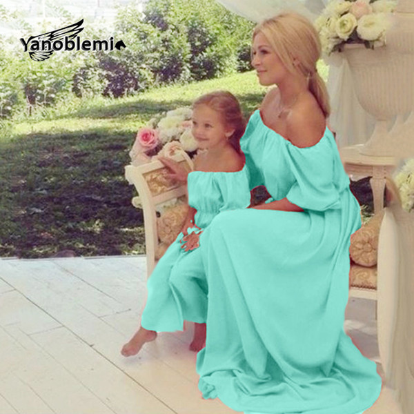 Matching Mother Daughter Clothes Chiffon Short Sleeves Mom Summer Solid Strapless Sexy Off Shoulder Dress Girl Family Look Q190524