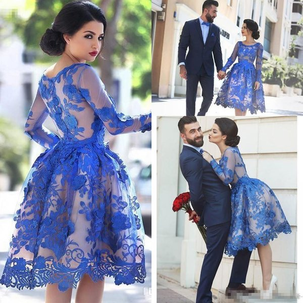 Chic Royal Blue Lace Appliques Illusion Long Sleeves Cocktail Party Dresses 2019 Knee Length Short Homecoming Prom Ball Gowns Dress vestidos