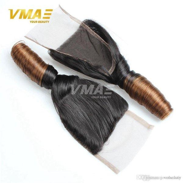 Fermeture de dentelle bouclée de printemps indien noeuds blanchis 4x4 pouces couleur Ombre 100% cheveux humains vierges fermeture de dentelle indienne partie libre