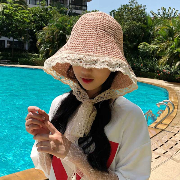 Parent-child Sun Hat Summer 2019 Straw Cap Lace Brim Women And Girls Foldable Outdoor Sun Protective Floppy Cloche Hat Sunbonn MZ7584