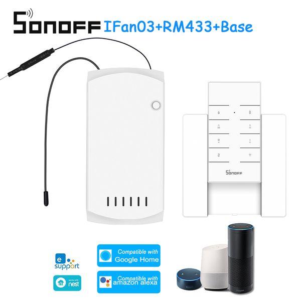 SONOFF 03 + RM433 + Base Controlador de ventilador de techo Interruptor inteligente Controlador con RF Base remota WiFi Luz de ventilador de techo
