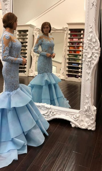 Light Sky Blue Mermaid Long Prom Dresses With Long Sleeves Lace Illusion Teens Formal Party Gowns Elegant Evening Gowns Custom Made