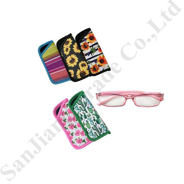 RTS Brillenetui Floral Neopren Tragetasche Lily Cactus Sonnenbrille Brillenetui Behälter Staub Wasserdichte Brille Aufbewahrungsbeutel Neu C82104