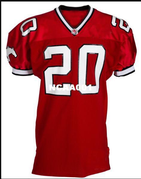 Rare Men Red Calgary Stampeders # 20 Doug Flutie real Full College Jersey taglia S-4XL o personalizzato qualsiasi nome o numero jersey