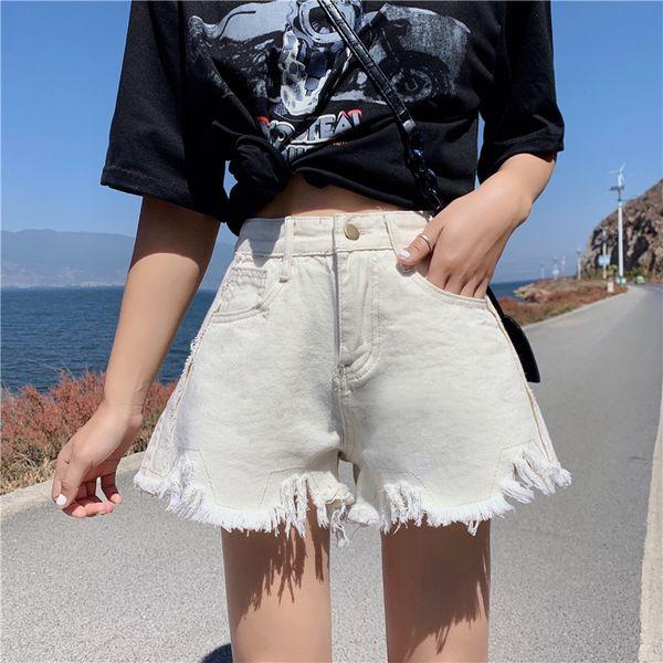 New Summer Denim Shorts Cotton Women 2019 Chic Vintage Irregular Denim Shorts Loose Fashion Hole Tassel Hot Pants Female
