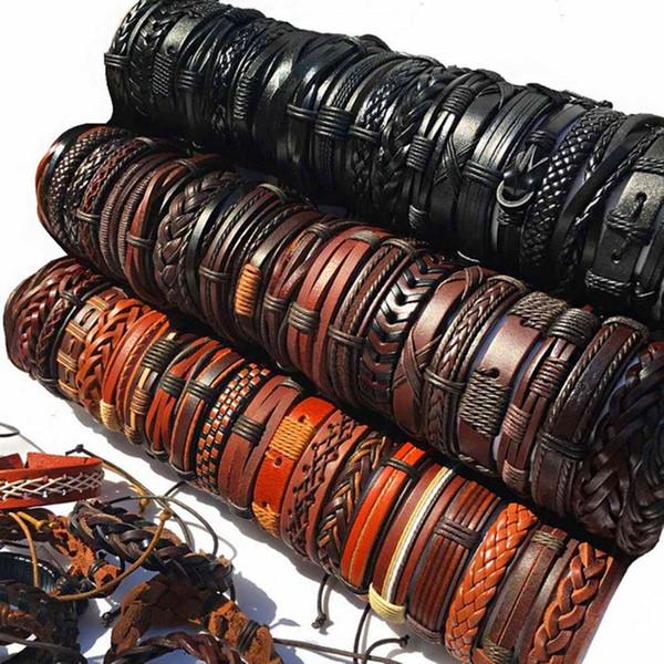 La main Mélanger Styles Bracelets En Cuir Tressé Pour Hommes Wrap Bracelet Bracelets Cadeaux De Fête (Café Brun Noir Envoyer Au Hasard)
