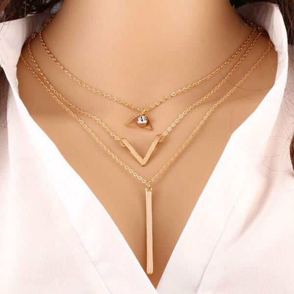 Neue Charm Halskette Schmuck Multilayer Choker Statement Bib Anhänger Kette Halskette Geschenk für Mädchen Damen Daily Wear