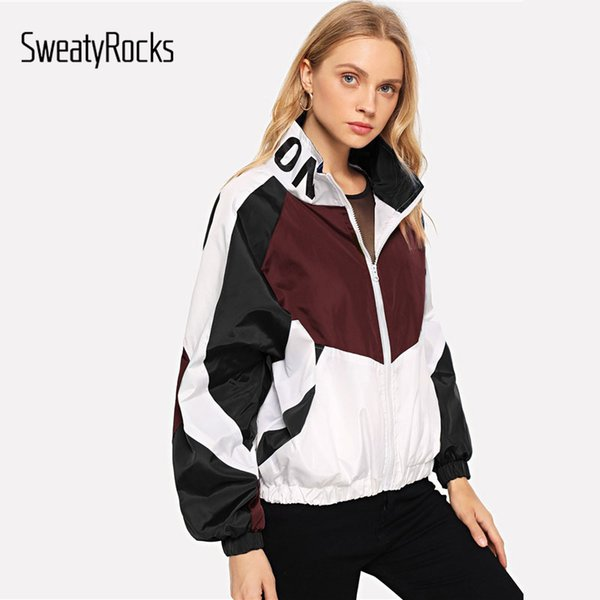 Sweatyrocks Athleisure Zip Up Giacca color block con stampa lettere 2018 Moda Multicolor Stand Colletto Donna Autunno Casual Cappotti S19824