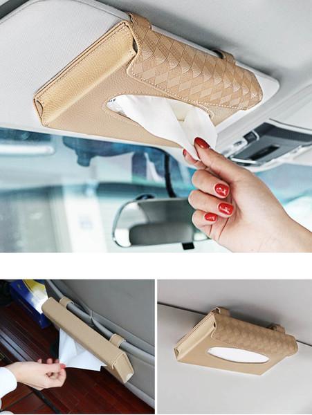 2pcs PU leather Hot Sale Car Sun Visor Organizer Card +Tissue Holder Rectangle Removable Tissue Paper Box Cover