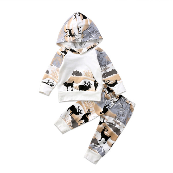 pudcoco новорожденный Мальчики Олень лесной сказки с капюшоном Топы Брюки Леггинсы хлопок теплый комплект Нижнее Одежда