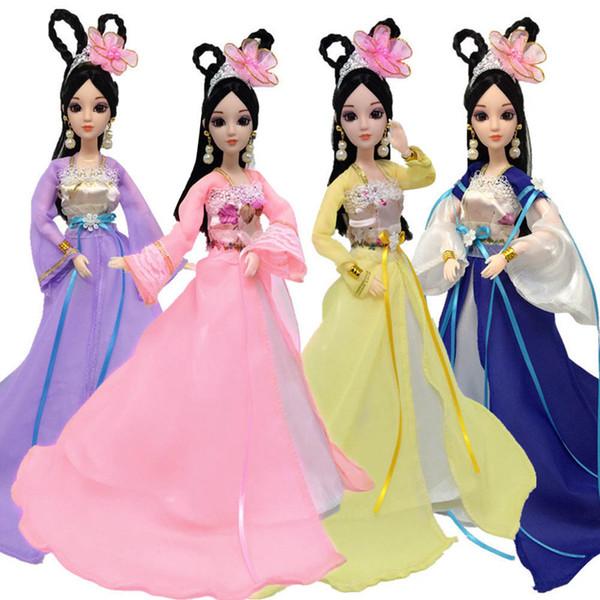 2018 nuevo vestido tradicional chino de peosonalidad para niña muñecas traje de belleza antigua ropa vestido de fiesta vestidos de noche