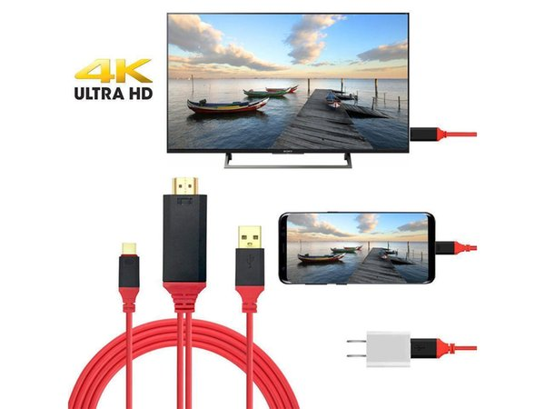 USB3.1 Type-C to HDMI 4k 2k HDTV Cable Adapter(6.6FT) Plug and Play for MacBook/ Samsung Galaxy Note 8/S8/S9