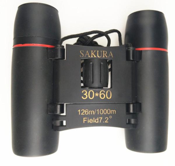 30x60 Sakura HD yüksek güçlü dürbün Teleskop mavi ve kırmızı membran dürbün gece görüş taşınabilir katlanabilir cep 20pcs / lot dürbün