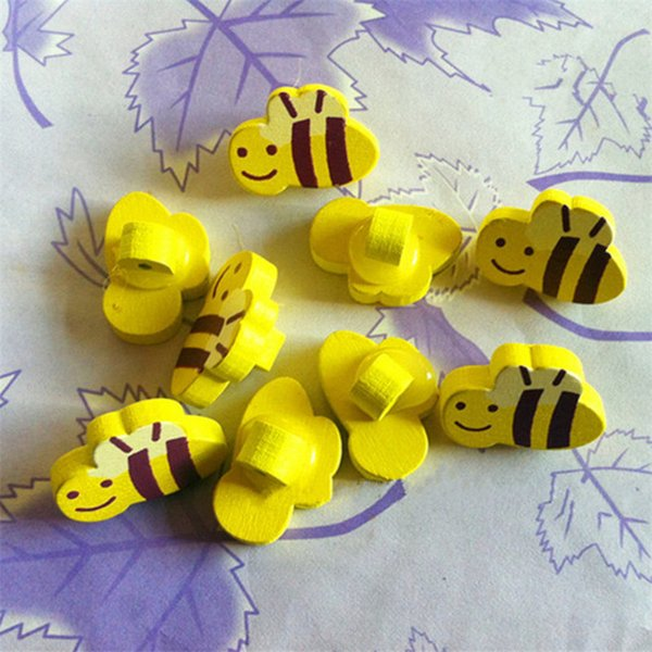 100pcs/lot New 1.5*2.0cm cartoon colorful wooden Buttons for crafts DIY Cute yellow bee buttons sewing button for kids scrapbooking buttons