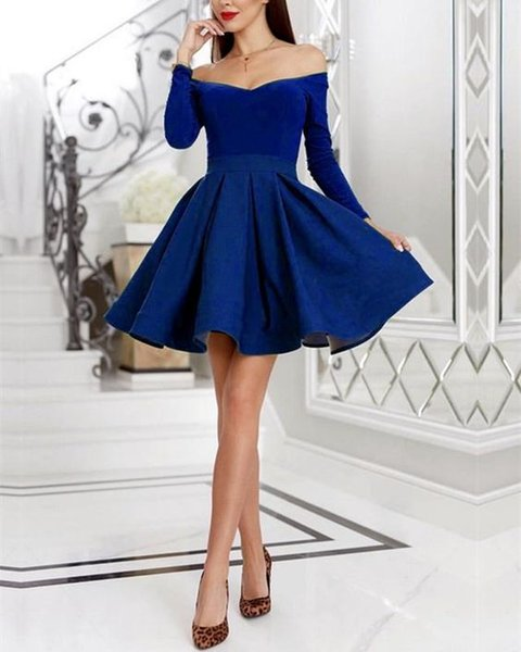 Vintage Short Royal Blue Prom Homecoming Dresses Off the shoulder with Long Sleeves Velvet Satin A line Ruched Graduation Party Dress
