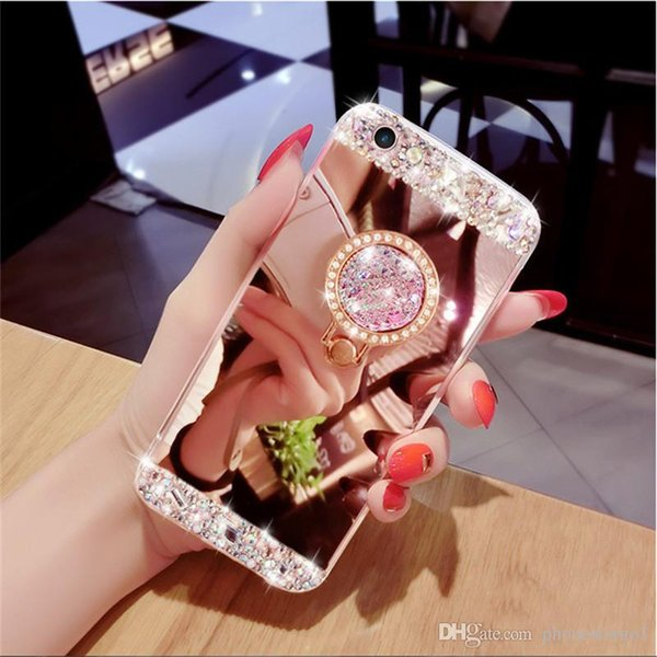 Clear Luxury Crystal Glitter Cell Phone Case Diamond Mirror TPU Protective Phone Back Covers Shell With Holder Kickstand For Iphone XR MAX