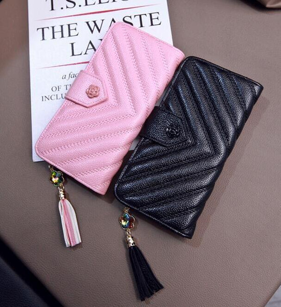 Factory wholesale brand handbag fashion V leather wallet all-match flower woman hasp Long Wallet simple hand fringed Leather Wallet
