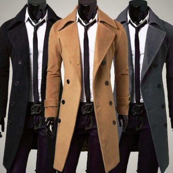 Zogaa 2019 nuevos hombres Boutique sólido de la manera ocasional delgada capa de lana rompevientos Sección largo abrigo de lana de visita de color
