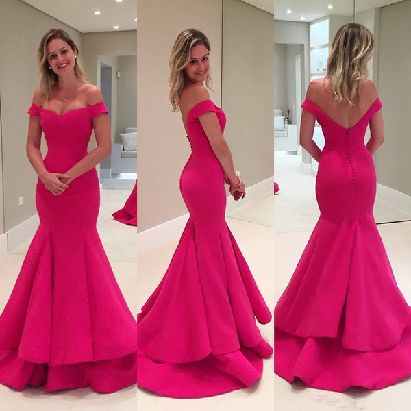 Elegant Fuchsia Mermaid Evening Dresses Off Shoulder Ruched Satin Simple Long Prom Dresses Sexy Backless Evening Wears Sweep Train