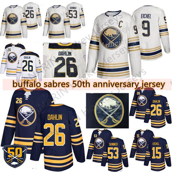 50e d'or Sabres de Buffalo Jersey 9 Jack Eichel 26 Rasmus Dahlin 53 Jeff Skinner 55 Rasmus Ristolainen 23 Sam Reinhart Hockey Maillots